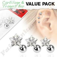 316L Surgical Steel Tragus/Cartilage Stud with Clear Jewelled Star 3 Piece Pack