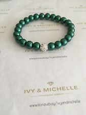 Glass Pearl Green Beaded Stretch Bracelet w/ Crystal Pave Clay Bead