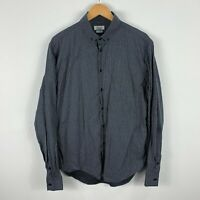 Zara Mens Button Up Shirt Size XL Slim Fit Black Plaid Long Sleeve Collared
