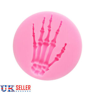 2X Skeleton Hand Halloween Cake Decorating Icing Topper Silicone Mould Resin UK