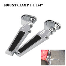 "1-1 1/4"" Chrome Highway Foot Pegs Footrest Clamps Folding Rod Crash Bar Guard"