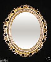 Wandspiegel Spiegel Gold / Weiß Jugendstil Rokoko Oval Antik 58x68 BAROCK