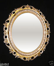 grande marco oval oro-blanco CON CRISTAL PROTECTOR Barroco ANTIGUO 68x58 de FOTO