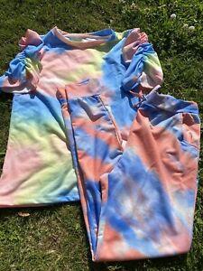 Two Piece Puff Sleeve Tshirt & Cuffed Pants Uk 10/12 Bnwot Multicoloured