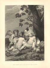 Infant Jesus & St. John The Baptist, Child, Angel, Lamb, 1875 Antique Art Print.
