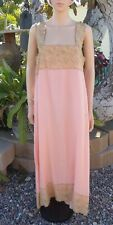 Antique Pink Silk Night Gown with Gold Colored Lace, Lace For Repurposing