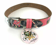 Ed Hardy Kids Belt by Christian Audigier Pink Size L LARGE Brand New Leather
