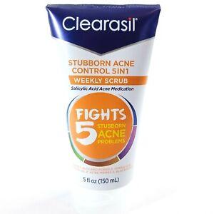 Clearasil Stubborn Acne Control 5 in 1 Weekly Scrub Salicylic Acid 5oz Face Wash