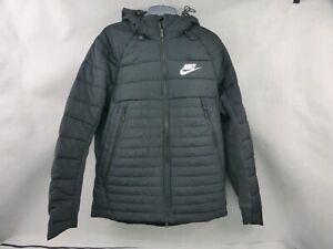 "Nike AV15 Black Padded Men's Jacket With Hood Size Medium 38"" Used Condition"