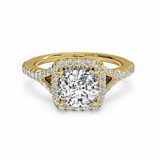 Yellow Gold Cushion Cut Size 5 6 Solitaire 1.10 Ct Diamond Engagement Rings 14K