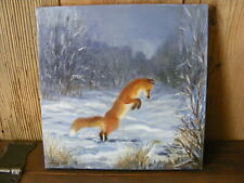 """Hunting Fox"" oil painting handpainted on canvas art, deco, hunting"