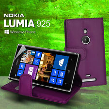 Purple Wallet Flip Leather Case Cover Card Slot for Nokia Lumia 925 + Screen Gua