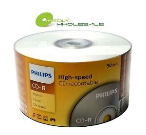50 PHILIPS Blank 52X CD-R CDR Branded Logo 700MB 80min Media Disc