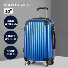 "Wanderlite 20"" Blue Luggage Sets Suitcase Trolley Travel Hard Case Lightweight"