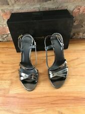 DONNA KARAN Collection Leather Ankle Strap Sandals Pewter Silver SZ 40 BNIB
