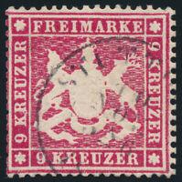 WÜRTTEMBERG, MiNr. 19 x a, sauber gestempelt, gepr. Heinrich, Mi. 160,-