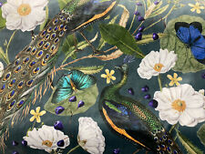 Peacock Bird Velvet Fabric- Price Per Metre £27.50