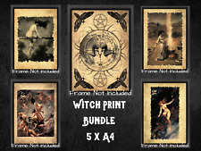 More details for witch magic occult gallery wall art dark bundle x 5 a4 pagan antique effect alt