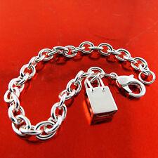 S/F Solid Ladies Handbag Charm Design Bracelet Bangle Real 925 Sterling Silver