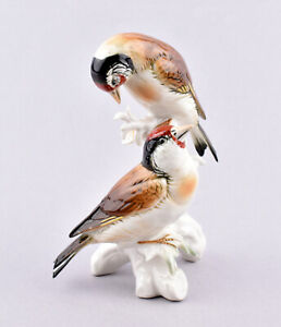 Karl Ens Volkstedt Porcelain Germany, Pair Of Goldfinches Figurine #7387