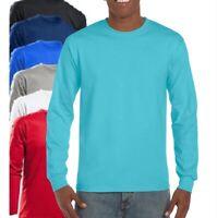 Gildan Martillo Resistente Algodón Cuello Redondo Manga Larga Camiseta S-5XL
