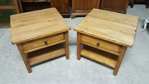 MATCHING PAIR OF SOLID OAK SIDE TABLES