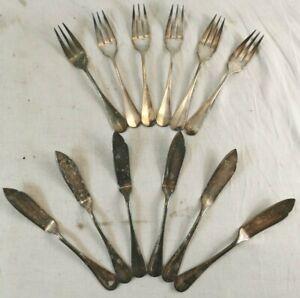 Service a Poisson METAL ARGENTE 6 Fourchettes Couteaux Orfevrerie ERCUIS 30G T2