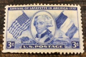 USA STAMP SCOTT # 1010 - ARRIVAL OF LAFAYETTE IN AMERICA - 3 CENTS - MNH - 1952