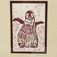 Penguin Batik Framed Wax Resist Paper Fiber Original Art Elizabeth Abul
