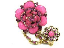 Flower Bracelet w Attached Adjustable Pink Crystal Ring Slave Women New