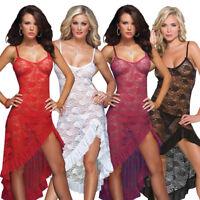 New Womens Dress Sexy G-String Lingerie Lace Nightgown Underwear Sleepwear Plus