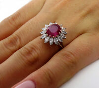 5Ct Oval Cut Pink Ruby Marquise Diamond Cocktail Floral Ring 14K White Gold Over