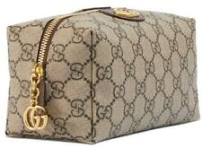 NEW GUCCI OPHIDIA GG LARGE CANVAS BROWN LEATHER DOUBLE G COSMETIC TOILETRY BAG