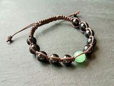 Para Hombre Onyx & Verde Jade Piedra Preciosa Shamballa Bracelet Encerado Cable Perfecto Para El Verano