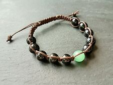 Para Hombre Onyx & Verde Jade Piedra Preciosa Shamballa Bracelet Encerado Cable.