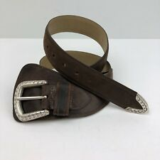 Ruff Hewn Brown Leather Women's Belt With Silver Tone Metal Buckle - 41 1/2""