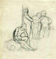 Dessin Ancien au crayon Original époque du XIXe siècle, Scène de Genre