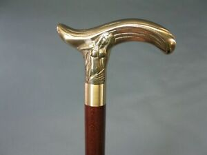 Designer Brass GOLDEN Head Handle Walking Stick Antique Style Wooden Cane Gift