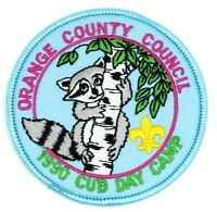 1990 Cub Scout Day Camp Orange County Council Patch Boy Scouts BSA Raccoon