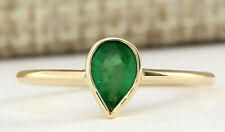 0.40 Carat Natural Emerald 14K Yellow Gold Promise Ring