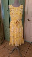 R & K, WOMEN'S YELLOW FLORAL, LINED, FIT AND FLARE DRESS WITH TIE, 10