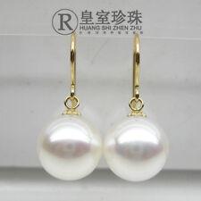 Elegant AAA+6-7mm real natural Japanese Akoya white round pearl earrings 18k