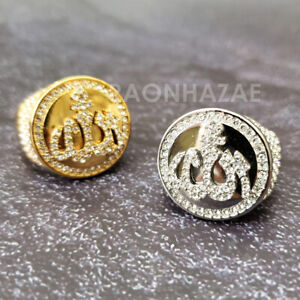 MEN Iced RING 316L STAINLESS STEEL ALLAH GOLD / SILVER TONE CZ BLING RING