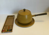 Vtg Mid Century Yellow Mustard Metal Fondue Pot Wooden Handles