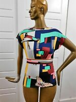 Emilio Pucci Multi Mod Bird Butterfly Print Silk Stretchy Blouse Top sz M