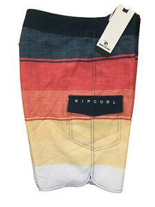NWT RIP CURL Boys Striped Board Swim Shorts, Blue/Orange/Yellow; Sizes: 22,25,27