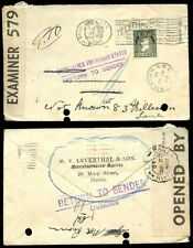 IRELAND 1940 LEVENTHAL ENVELOPE + RETURNED + CENSOR