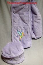 Adult Disney Tinker Bell Lavender Embroidered Fleece Scarf and Cap Warm Wear Set