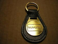 TOYOTA KEY RING LEATHER SOLID BRASS FOB + 1 FREE