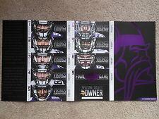 2013 Minnesota Vikings Full Unused Uncut Ticket Sheet Final Game Metrodome